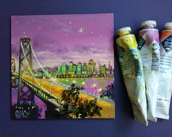 New York skyline painting city small oil painting abstract purple decor canvas art Manhattan bridge unique Gift for boyfriend gift mens gift