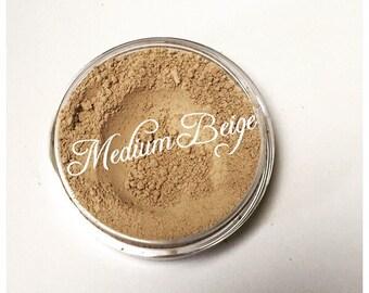 MEDIUM BEIGE Organic Mineral Foundation Beauty Vegan w/ jojoba oil, vitamin e, green tea