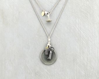 """Optical Lens """"Compass"""" Pendant, Necklace"""