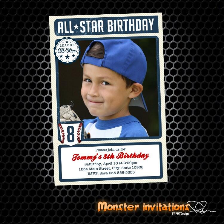 Tarjeta de béisbol inspirado en invitación de cumpleaños para