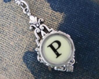 Typewriter Key Jewelry, Typewriter Pendant Letter P