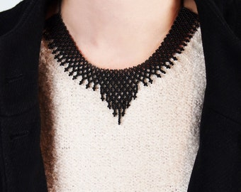 Black sead bead necklace, black bib necklace, ethnic necklace, native american, minimalist necklace, black statement necklace