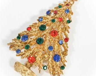 Vintage Art Mode Christmas Tree Brooch/ Pin, Signed ART. Gold Ruby Sapphire Emerald & Topaz Rhinestones.