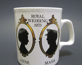 Vintage Princess Anne Royal Wedding Commemorative Mug / 1973 Princess Anne and Mark Phillips Wedding Souvenir Cup / British Royalty Momento
