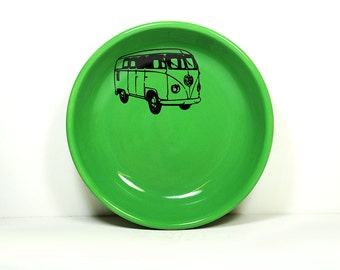 lo bowl with a VW Microbus print, shown on a Lucky green, Made to Order / Pick Your Colour