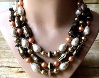 Multi Strand Beaded Necklace Japan ~ Unique Beads of Varying Shapes ~ Beautiful Color Palette w Peach, Copper, Gold, & Silver ~ VINTAGE