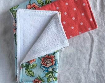 Burp Cloths - Floral/Polka Dot (Set of 3)