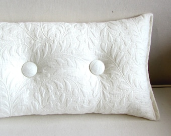 TOSS throw pillow 8x16 ivory matelasse with two buttons