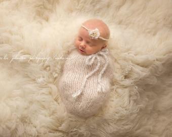 Knit Newborn Swaddle Sack, Oatmeal, Photo prop