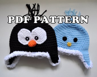 PDF PATTERN - Crochet Penguin Birdy Hat