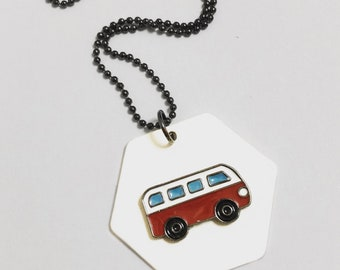 Retro Camper, Van, Volkswagen, Classic, X605- VW, Cool, Funny, Vintage, Funky, Vintage, Long necklace, Geometric, Hexagon pendant, Gunmetal