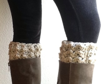 SALE Crocheted Boot Cuffs, Unique Bubble Stitch Boot Topper