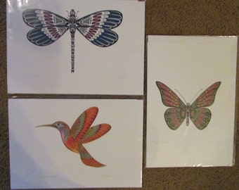 New Pack of 3 Art Cards Totem Dragonfly, Hummingbird Cameo & Butterfly Sprite