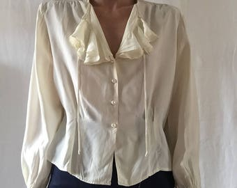 vintage cream rayon poet blouse with ruffles