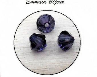 5 purple bicone Crystal beads 4 x 4 mm