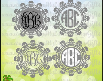 Skull And Crossbones Monogram Frames Design Digital File Jpeg Png SVG EPS  DXF Formats Instant Download