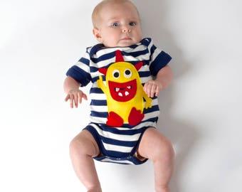Monster Bodysuit, Baby Bodysuit, Baby Boy Bodysuit, Baby Boy Clothes, Newborn Baby Clothes, Baby Gift, Baby Shower Gift, New Baby Gift
