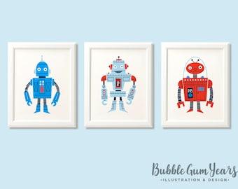 Robot nursery prints, nursery art, boys robot print set, robot art, robot nursery art, boys bedroom, kids room, blue room, robot decor.
