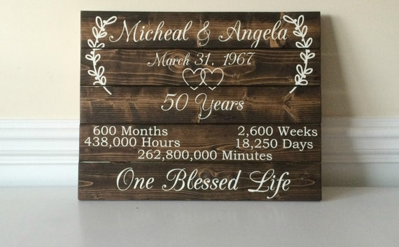 50 Year Anniversary 50th Anniversary Ideas Custom Wood Sign