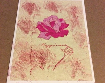 50%offGreetingCards Happiness handmade greetings card, pink roses with marbled front hand colored hand stamped