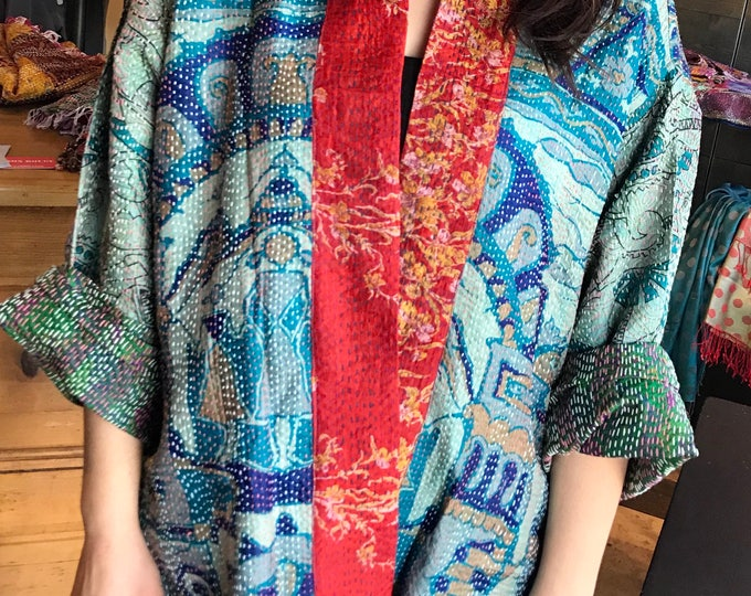 Plus size reversible silk kantha kimono