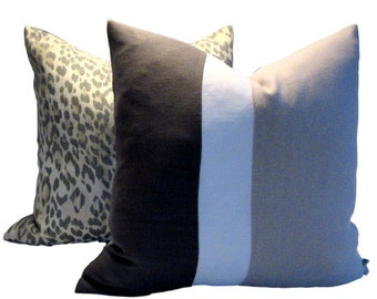 Kravet Charcoal Gray White Natural Linen Pillow Cover