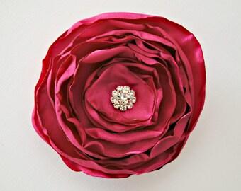 Chaud cheveux Rose fleur accessoires, accessoires pour cheveux demoiselles d'honneur, Satin fleur couche, pince à cheveux Rose, chou Style cheveux fleur, strass