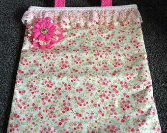 Handmade Pink Floral Shabby Chic Tote Bag, REDUCED