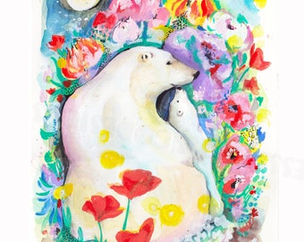 Polar bear print, bear print for kids room, kids room art, nursery art, momma and me, mother and daughter, mothers day, mom and baby, bears