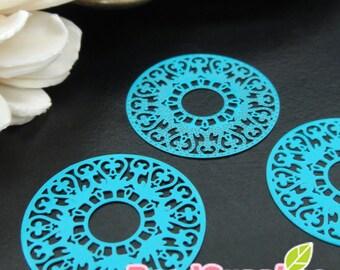 CH-ME-10138F - Color enameled, Art nouveau lace ring computer-cut plate, turquoise blue, 4 pcs