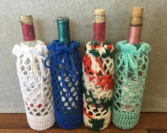 Mesh Wine Bottle Cozies - wine bottle cover - wine bag - gift bag - mothers day gift - valentines gift - READY TO SHIP