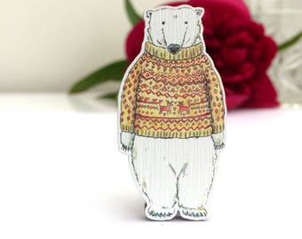 Wooden Polar Bear Brooch