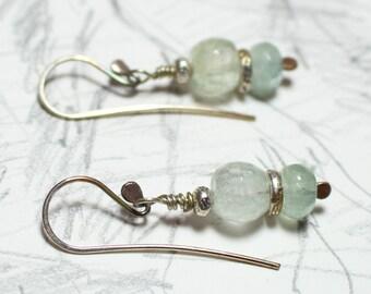 Aquamarine sterling crystal ice earrings