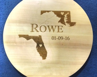State to State Wedding Lazy Susan with FREE PERSONALIZATION