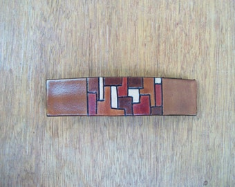 Leather Hair Barrette. Warm geometry. Painted with acrylics and anilines. OOAK
