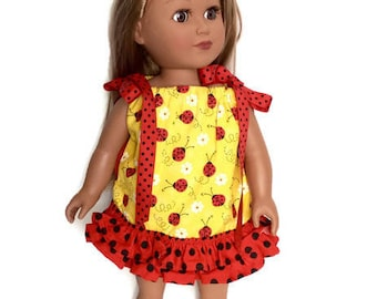 18 Inch Doll Clothes, Ladybug Doll Dress, Pillowcase Dress, Yellow and Red Dress, Summer Doll Clothes