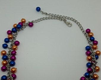 Dark Peach, Fuschia, and Blue Cluster Necklace