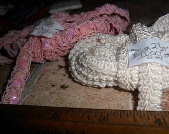 2 Vintage Gimp Trims Pink w/Irredescent Pink sequins & Ivory