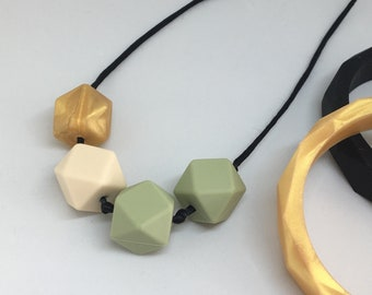 Gold Rush - olive green and metallic gold geometric TEETHING and NURSING necklace Silicone BPA Free food grade silicone