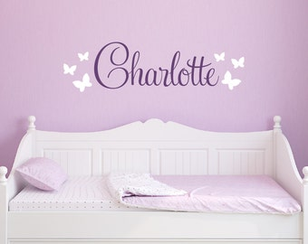 Butterfly Name Decal - Girls Name Wall Decal - Butterfly Decals for Walls - Unique Gift - Wall Decal Removable Nursery Decor For Girls