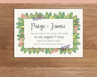 Watercolour floral leaf wreath invitation. *DIGITAL DOWNLOAD*