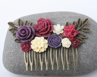 Burgundy Bridal hair comb, Burgundy plum hair comb, Burgundy plum wedding hairpeice, floral hair comb, rustic wedding hair accessories