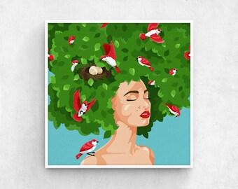 Bird Lady / hair salon decor, woman illustration, surreal woman, bird illustration, bird wall art, modern wall art, modern illustration