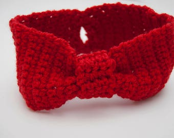 Knotted Headband   Red Messy Bun Ear Warmer, Knot Headband, Red Knotted Headband, Boho Wool Earwarmers, Boho Knot Headband, Boho Ear Warmers