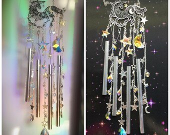 Unicorn Suncatcher Wind chime Moon and Stars Crystal Suncatcher Rainbow maker ~INDOOR /DRY use only~