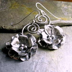 Sterling Silver Flower Rose Dangle Earrings metalwork metalsmith - Old World Rose