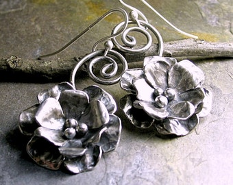 Sterling Silver Flower Rose Dangle Earrings metalwork metalsmith - Old World Rose