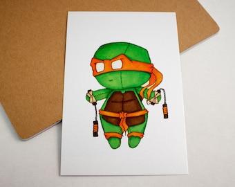 Mini Michelangelo - 4x6 Print [ TMNT  / Fan Art / Chibi ]
