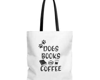 Book Tote Bag - Reader Bag - Reader Gift - Bookworm Gift - Gift for Book Lover - Teacher Gift - Dog Lover Gift - Coffee Lover Gift - Books