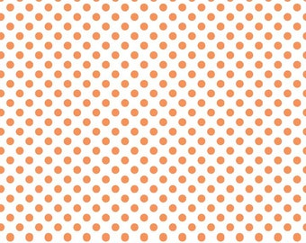 Orange Small Dots on White Fabric by Riley Blake Designs - By the Yard - 1 Yard - Orange and White - C480-60